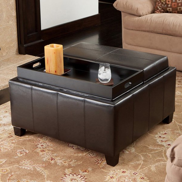 Shop Mansfield Bonded Leather Espresso Tray Top Storage Ottoman Regarding Trendy Mansfield Cocoa Leather Sofa Chairs (View 19 of 20)