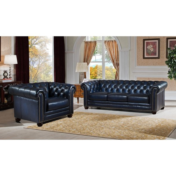 Shop Nebraska Genuine Hand Rubbed Blue Leather Chesterfield Sofa And With Well Known Chesterfield Sofa And Chairs (View 16 of 20)