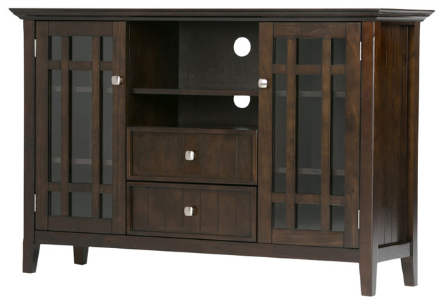 "Simpli Home Bedford 53"" Tall Tv Stand, Tobacco Brown – Craftsman Regarding Most Recent Bedford Tv Stands (View 19 of 20)"