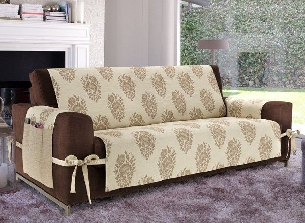Slipcovers For Chairs And Sofas Regarding Well Liked Creative Diy Sofa Cover Ideas Beige Cover Brown Sofa With Ties (View 15 of 20)