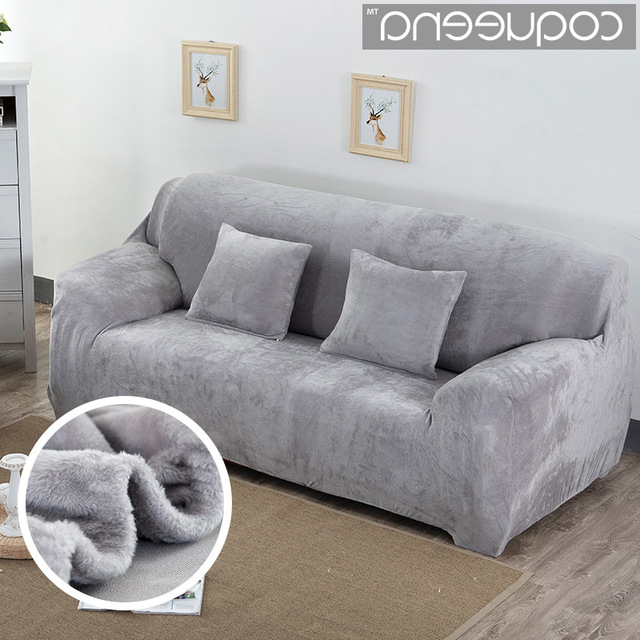 Sofa And Chair Covers Regarding Most Popular Super Soft Stretch Thick Plush Sofa Slipcover Couch Armchair Covers (View 9 of 20)