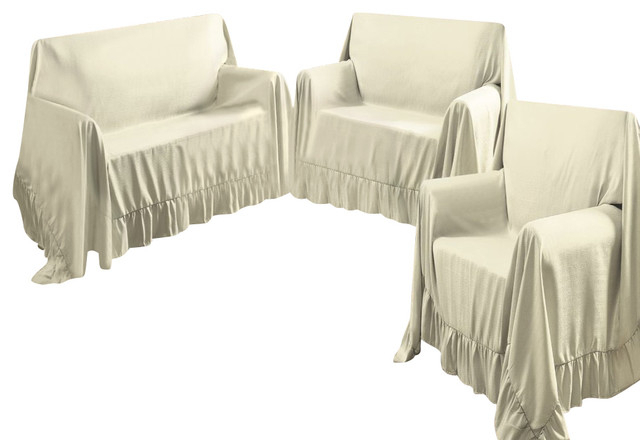 Sofa And Chair Covers With Regard To Most Up To Date Venice Home 3 Piece Sofa, Loveseat, Chair Protector Throw Cover Set (View 12 of 20)
