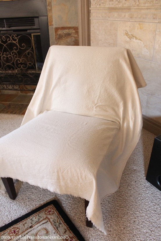 Sofa And Chair Slipcovers Intended For Trendy Slipcovering An Armless Accent Chair (View 5 of 20)