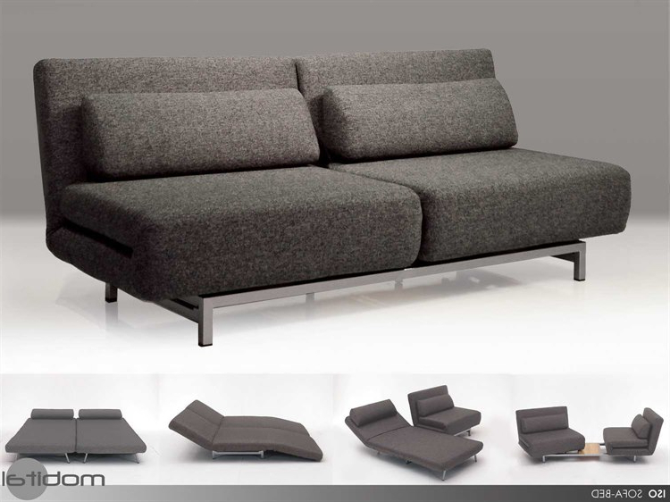 Sofa Beds Chairs Intended For Well Known Mobital Iso Charcoal Tweed Double Sofa Bed With 2 Single Swivel (View 15 of 20)