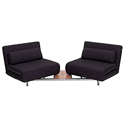 Sofa Beds Chairs Within Trendy Amazon: J&m Lk06 2 Black Fabric Convertible Sofa Bed Chairs (View 17 of 20)