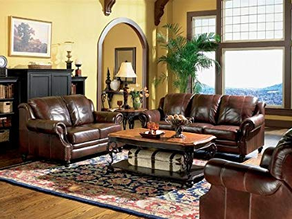 Sofa Loveseat And Chairs Throughout Most Recently Released Amazon: 3Pc Princeton Tri Tone Burgundy Leather Sofa Loveseat (View 18 of 20)