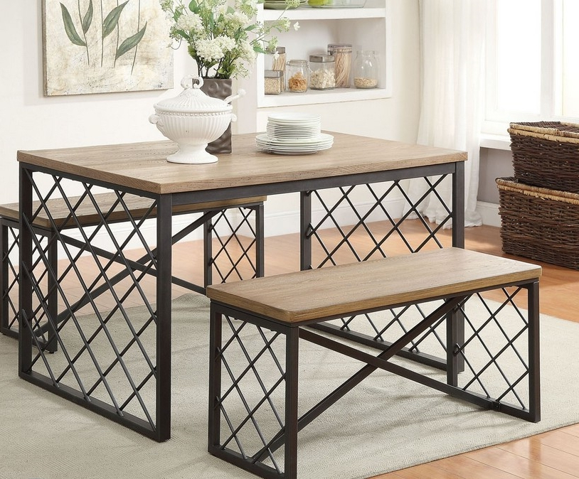 "Sofa Table Chairs In Famous Acme 71655 48"" Dining Table Set In Oak (View 15 of 20)"