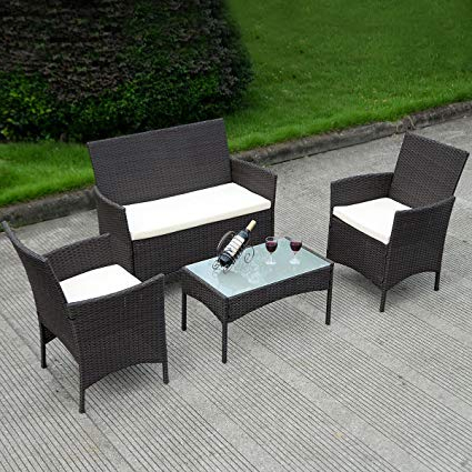 Sofa Table With Chairs For Preferred Amazon: Costway 4 Pc Patio Rattan Wicker Chair Sofa Table Set (View 7 of 20)