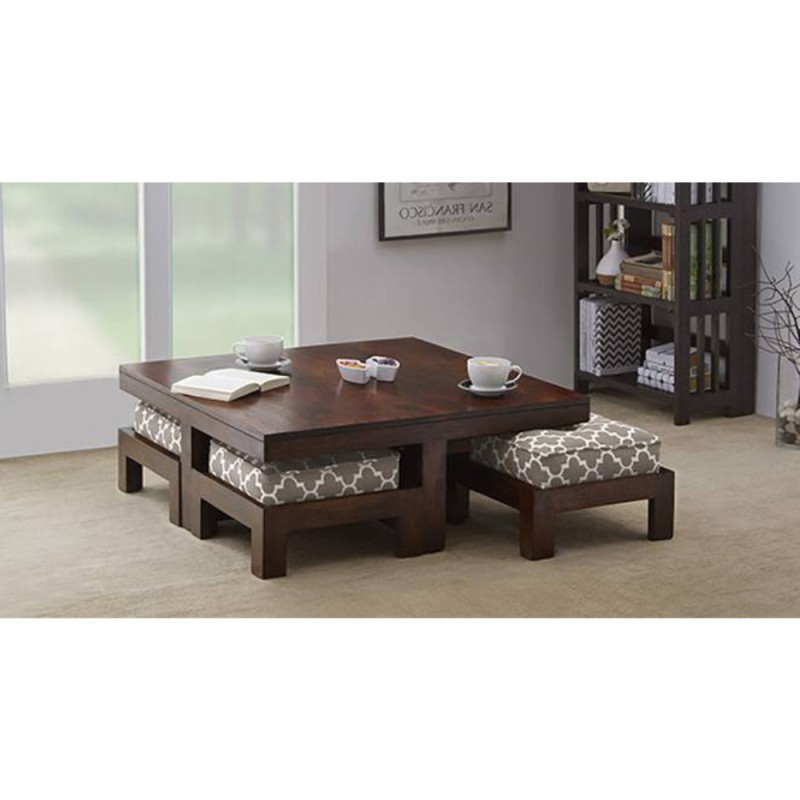 Sofa Table With Chairs Within Most Current Wooden Center Table Set Of 5 – Furniture Onlinerightwood (View 20 of 20)