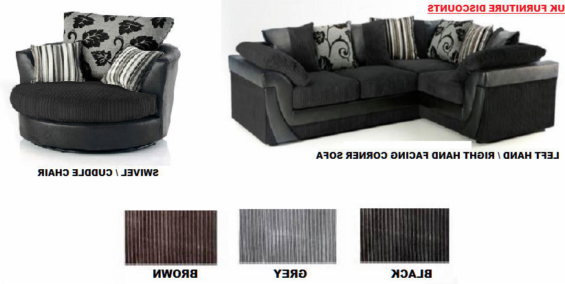 Sofa With Swivel Chair Inside 2017 Brand New Lucy Lush Corner Sofa Suite/ Cuddle Swivel Chair Black (View 15 of 20)