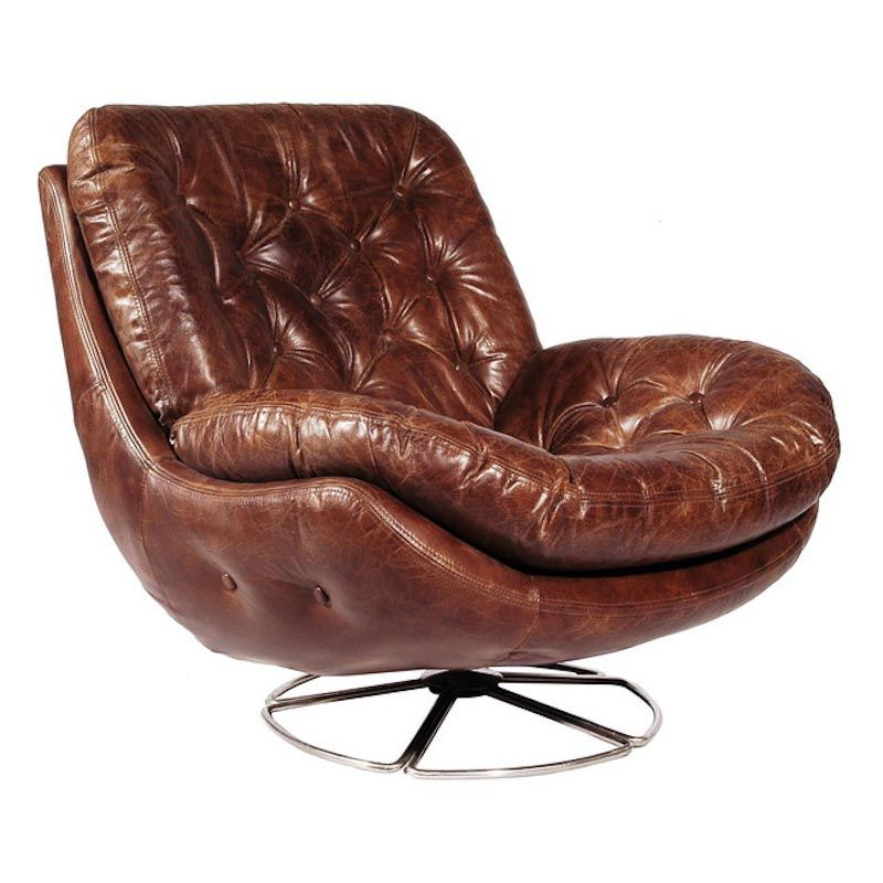 Swivel Tobacco Leather Chairs Pertaining To Well Known Fulham Swivel Chair Leather Antique Tobacco (View 2 of 20)