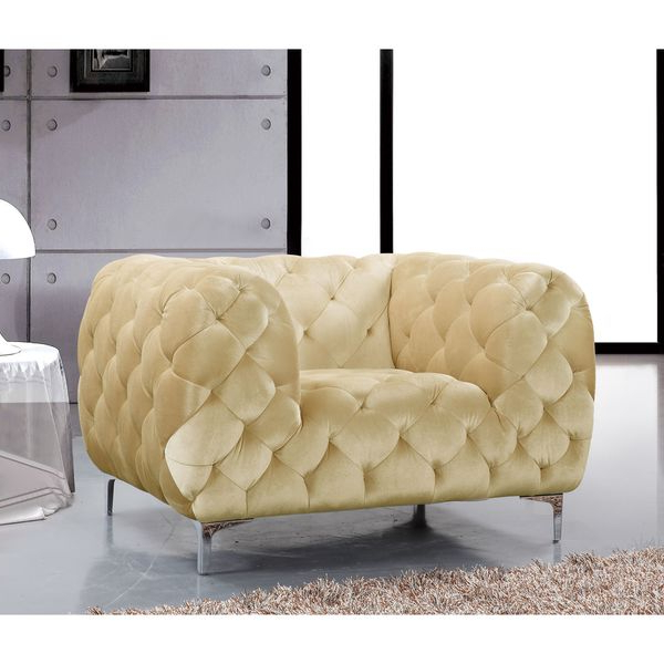 Trendy Shop Meridian Mercer Beige Velvet Tufted Chair – Free Shipping Today Inside Mercer Foam Oversized Sofa Chairs (View 18 of 20)