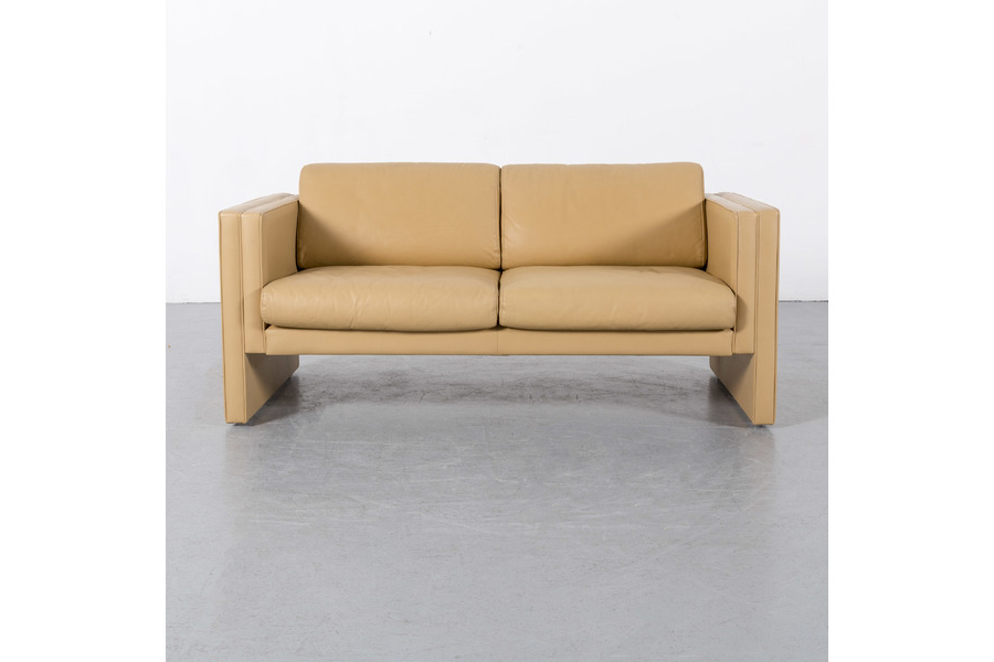 Trendy Walter Knoll Leather Sofa Yellow Beige Two Seater Couch Genuine In Walter Leather Sofa Chairs (View 8 of 20)