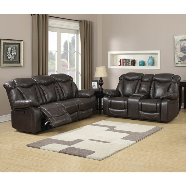 Trendy Walter Leather Sofa Chairs Intended For Shop Walter Dark Brown Leather Reclining Sofa And Loveseat (set Of (View 10 of 20)