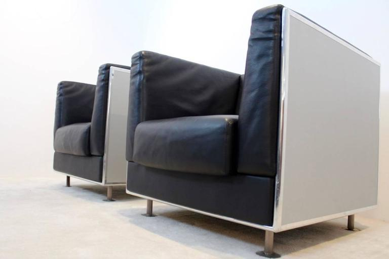 Unique Matteo Grassi Soft Leather Arm Chairs In Aluminium Shell Regarding 2017 Matteo Arm Sofa Chairs (View 4 of 20)