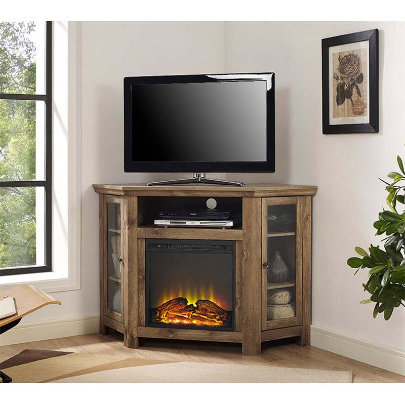 Walker Edison Corner Fireplace Tv Stand For 50 Inch Screens Barnwood Intended For Most Recently Released 50 Inch Fireplace Tv Stands (View 6 of 20)