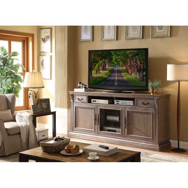 Well Known 84 Inch Tv Stands With Regard To 84 Inch Distressed Ceruse Tv Stand – Estancia (View 2 of 20)