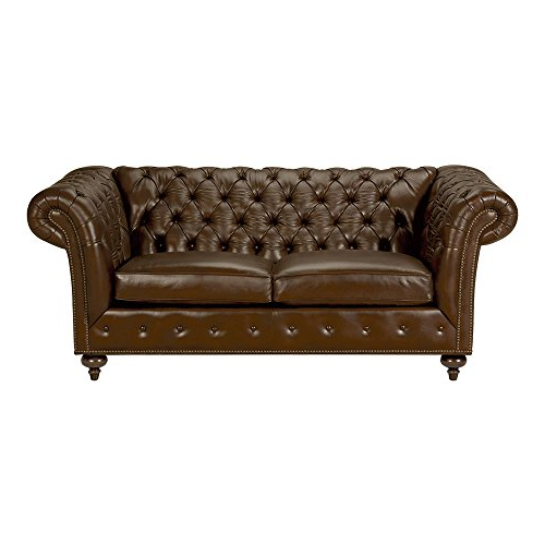 "Well Known Amazon: Ethan Allen Mansfield Leather Sofa, 77"" Sofa, Omni Brown Intended For Mansfield Beige Linen Sofa Chairs (View 16 of 20)"