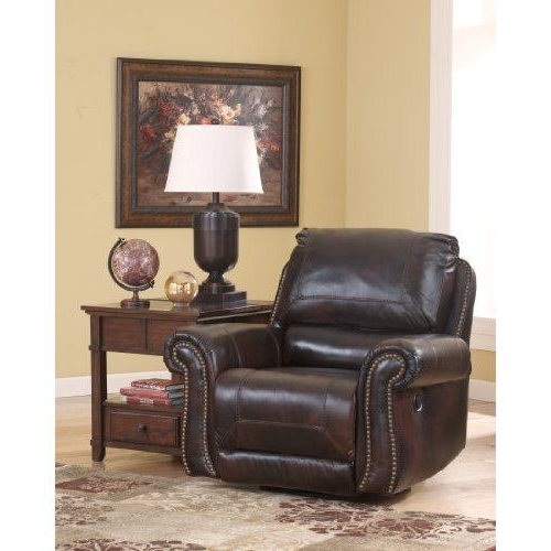 Well Known Katrina Blue Swivel Glider Chairs Within Brown Leather Swivel Glider Reclinerashley Furniture Swivel (View 20 of 20)
