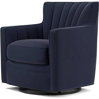 Well Known Kawai Leather Swivel Chairs Within Handy Living Zahara Navy Blue Velvet Swivel Arm Chair (Navy Blue (View 18 of 20)