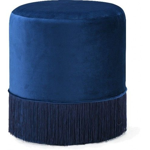 Well Known Round Sofa Chairs In Blue Fringed Round Velvet Ottoman Footstool In  (View 19 of 20)