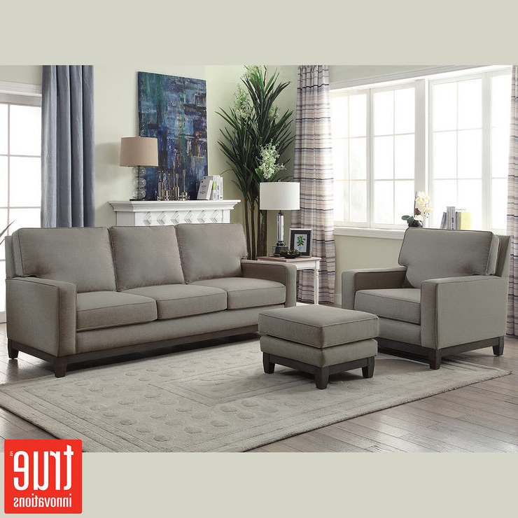 Well Known Sofa Chair And Ottoman Pertaining To Melinda Grey Fabric 3 Seater Sofa, Chair & Ottoman Set (View 2 of 20)
