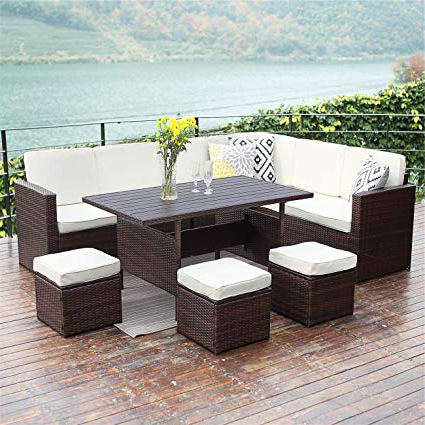 Well Known Sofa Table Chairs Regarding Amazon: Wisteria Lane Patio Sectional Furniture Set,10 Pcs (View 4 of 20)