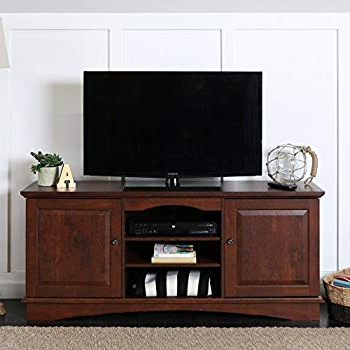 "Well Liked Amazon: We Furniture 60"" Black Wood Tv Stand Console: Kitchen In Abbot 60 Inch Tv Stands (View 19 of 20)"
