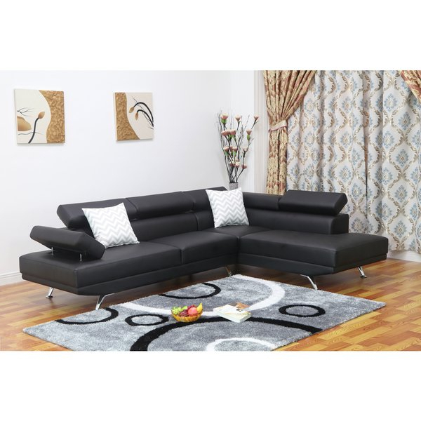 Well Liked Caressa Leather Dark Grey Sofa Chairs Inside Dakodak Black Faux Leather 2 Piece Sectional Sofa Set – Free (View 19 of 20)