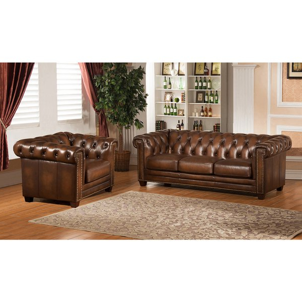 Well Liked Shop Hickory Brown Leather Chesterfield Sofa And Chair Set – Free Intended For Chesterfield Sofa And Chairs (View 19 of 20)