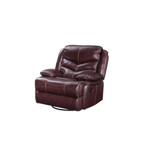 Well Liked Shop Standard Furniture Burgundy Brown Denali Leather Manual Swivel Within Gannon Linen Power Swivel Recliners (View 19 of 20)