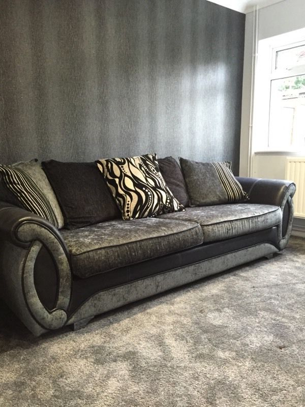 Well Liked Sofa With Swivel Chair Within Helix Black Fabric Sofa, Swivel Chair, Cuddle Chair & Footrest (View 19 of 20)