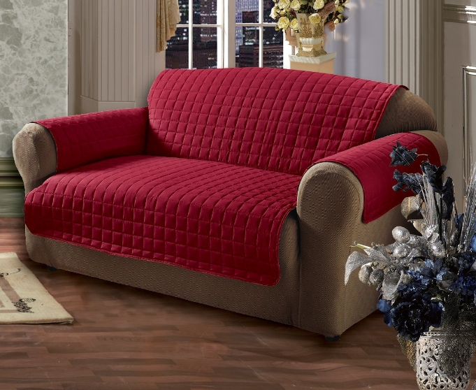 Well Liked Throws For Sofas And Chairs Throughout Furniture Protector Quilted Sofa Chair Settee Cover Throw Burgundy (View 19 of 20)