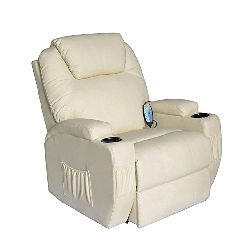 White Leather Recliner Chair: Amazon Inside Well Liked Amala White Leather Reclining Swivel Chairs (View 13 of 20)