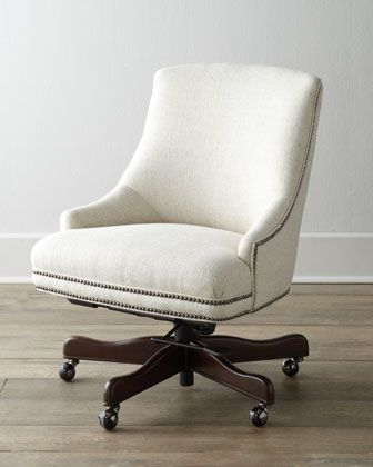 "White Upholstered, With Nailhead Trim (""littleton"" Swivel Office Regarding Popular Loft Smokey Swivel Accent Chairs (View 4 of 20)"