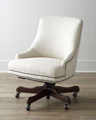"White Upholstered, With Nailhead Trim (""littleton"" Swivel Office Regarding Popular Loft Smokey Swivel Accent Chairs (View 20 of 20)"