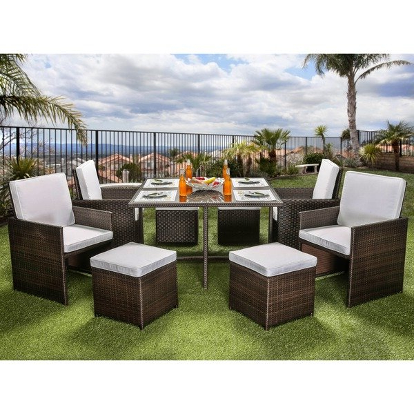 Widely Used Ames Arm Sofa Chairs With Regard To Shop Furniture Of America Ames Espresso 9 Piece Outdoor Dining Set (View 19 of 20)