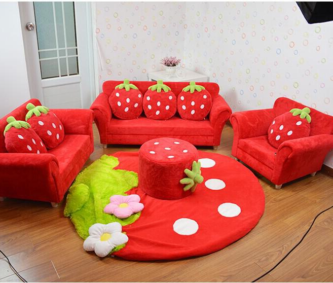 Widely Used Coral Velvet Children Sofa Chairs Cushion Furniture Set Cute Strawberry  Style Couch For Kids Room Decor Christmas Birthday Gift Throughout Toddler Sofa Chairs (View 20 of 20)