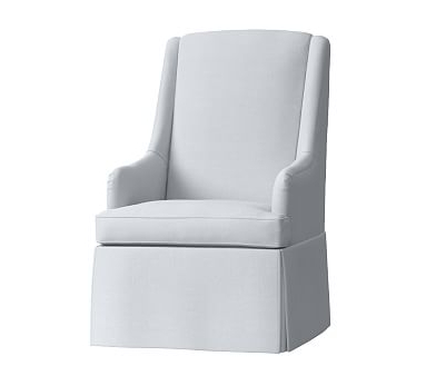 Widely Used Declan Skirted Swivel Rocker, Washed Linen Cotton French Gray Within Bailey Linen Flare Arm Wing Skirted Swivel Gliders (View 8 of 20)