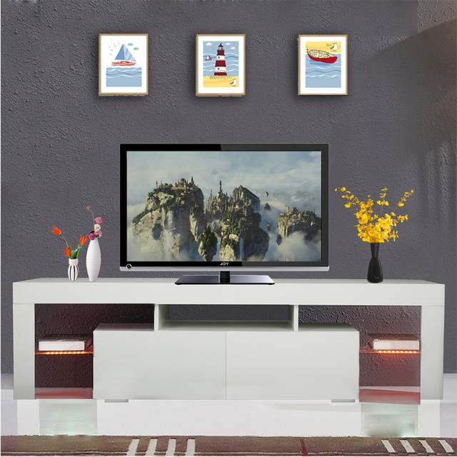 1 Set High Gloss Led Tv Stand Unit 2 Drawers Cabinet Shelf Console In Favorite Tv Stands With Drawers And Shelves (View 9 of 20)