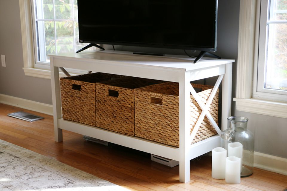 11 Free Diy Tv Stand Plans You Can Build Right Now Throughout Well Known Tv Stands With Baskets (View 1 of 20)