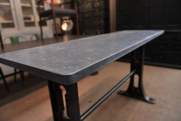 1900s Cast Iron Industrial Console Table Bluestone Top At 1stdibs With Regard To Recent Bluestone Console Tables (View 2 of 20)