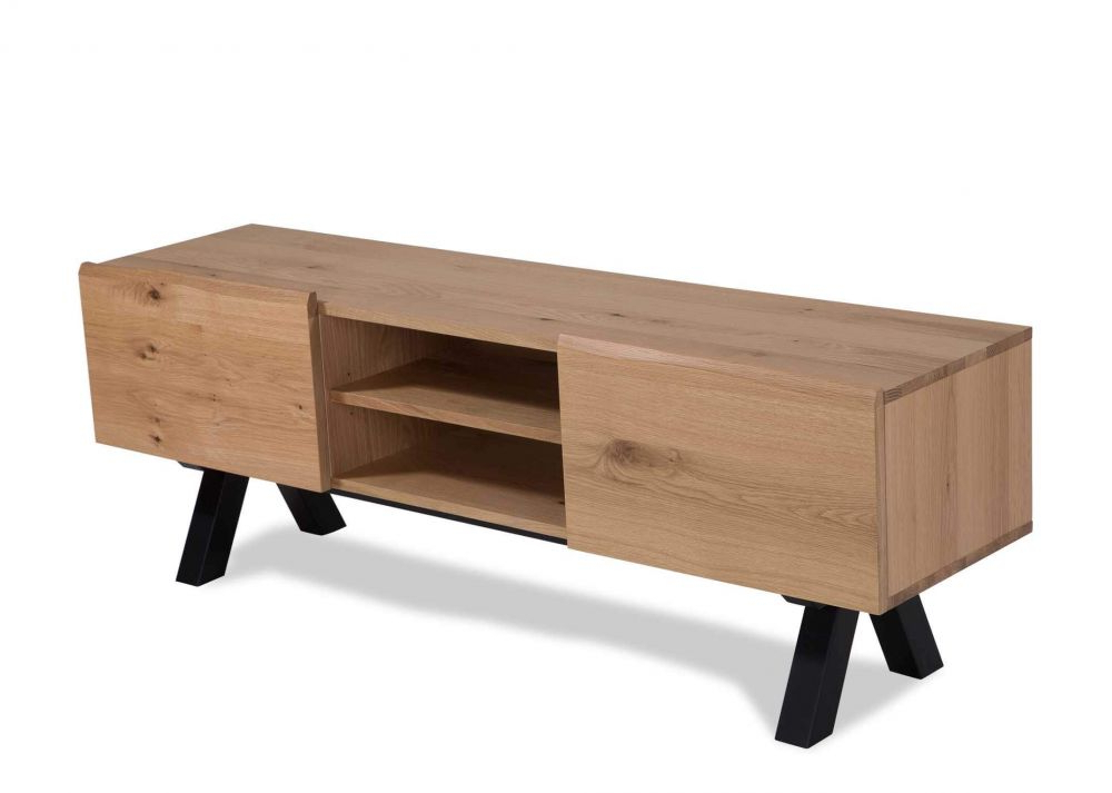 2 Door 2 Shelf Wild White Oak Tv Unit – Oliveto – Ez Living Furniture With Regard To Recent Oak Tv Cabinets With Doors (View 16 of 20)