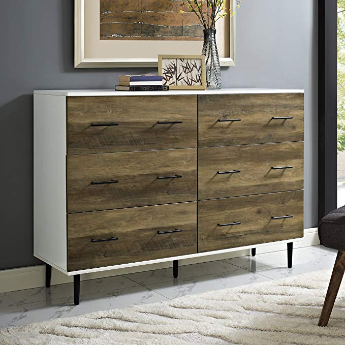 2017 Amazon: We Furniture Azu52Sv6Dwro 6 Drawer Reclaimed Dresser In Dixon Black 65 Inch Highboy Tv Stands (View 1 of 20)