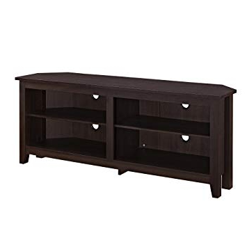 "2017 Black Wood Corner Tv Stands Pertaining To Amazon: We Furniture 58"" Wood Corner Tv Stand Console, Espresso (View 2 of 20)"