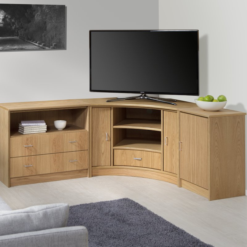 """2017 Corner Tv Stands Intended For Marlow Home Co. Degroat Corner Tv Stand For Tvs Up To 50"""" (Gallery 1 of 20)"""