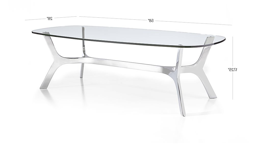 2017 Elke Rectangular Glass Coffee Table With Polished Aluminum Base Pertaining To Elke Glass Console Tables With Polished Aluminum Base (View 1 of 20)