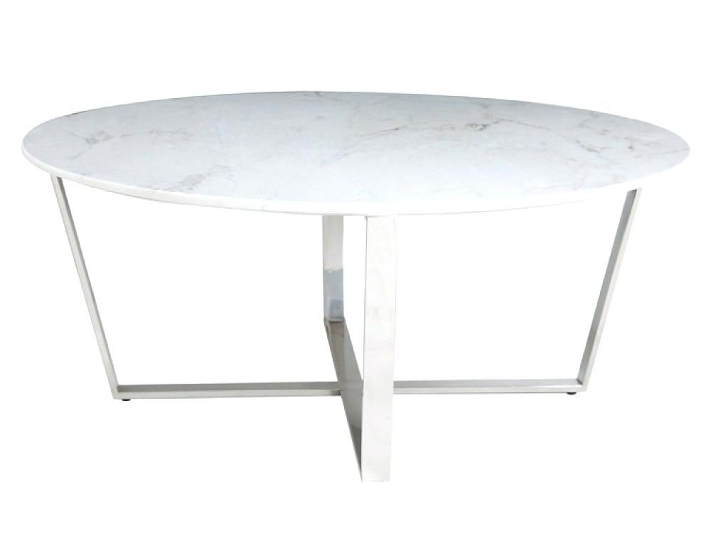 2017 Elke Round Marble Coffee Table Side Living Room Contemporary Top For Elke Glass Console Tables With Polished Aluminum Base (Gallery 16 of 20)