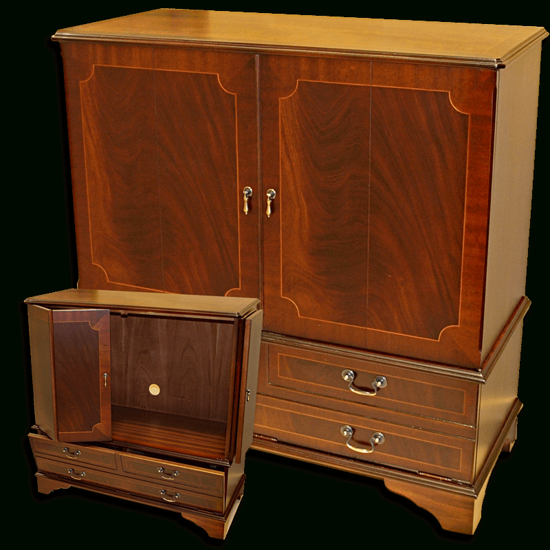 2017 Enclosed Reproduction Tv Cabinet In Yew,mahogany,oak And Bespoke For Enclosed Tv Cabinets With Doors (View 1 of 20)