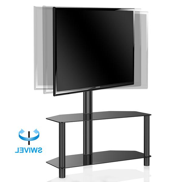2017 Fitueyes Universal Swivel Floor Tv Stand With Mount 2 Tempered Glass Intended For Tv Stands For 43 Inch Tv (Gallery 14 of 20)